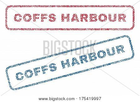 Coffs Harbour text textile seal stamp watermarks. Blue, red fabric vectorized texture. Vector tag inside rounded rectangular banner. Rubber sign with fiber textile structure.