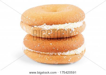 sweet cookie with coconut isolated Biscuit, Temptation, Treat, Fastfood, Calories, Afternoon, Indulgence, Chip, Crumbs