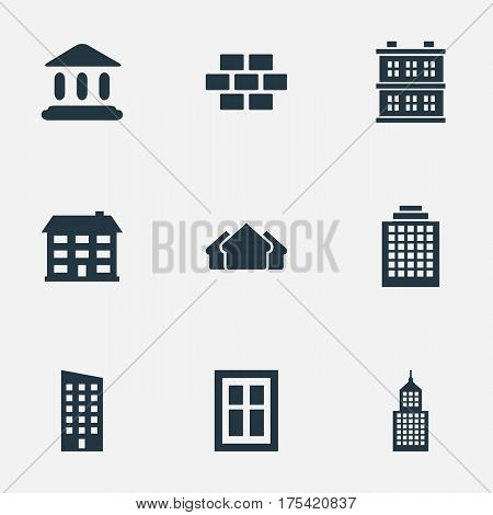 Vector Illustration Set Of Simple Construction Icons. Elements Structure, Shelter, Stone And Other Synonyms Construction, Estates And Hut.