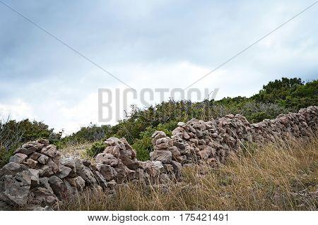 Dry stone wall Island of Krk Croatia