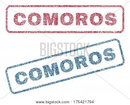 Comoros text textile seal stamp watermarks. Blue, red fabric vectorized texture. Vector tag inside rounded rectangular banner. Rubber sign with fiber textile structure.