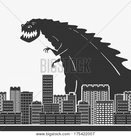 Monster In A Town Vector Illustration eps 8 file format