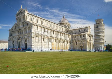Piazza dei miracoli with the Basilica and the leaning tower. Pisa Italy.