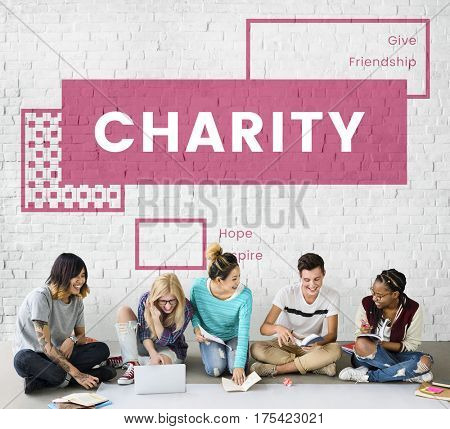 Charity giving helping people together