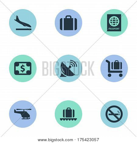 Vector Illustration Set Of Simple Plane Icons. Elements Cigarette Forbidden, Baggage Cart, Antenna And Other Synonyms Alighting, Handbag And Cart.