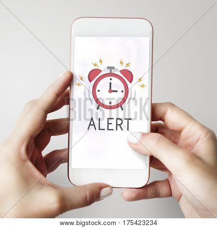 Mobile phone alarm notification for important appointment poster