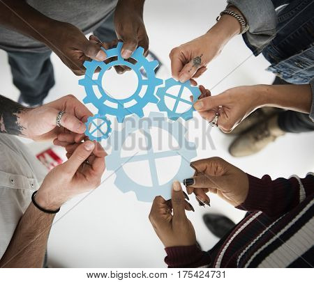 People Gear Cooperation Together Partnership Teamwork