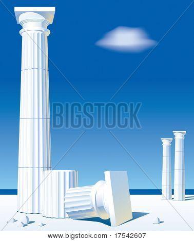 Vektor-Bild der klassischen antiken Säulen am Ufer
