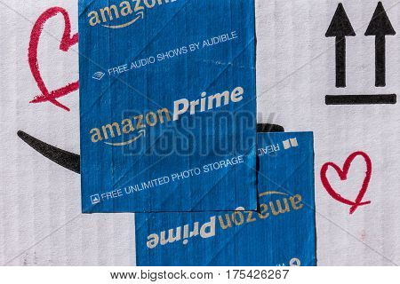 Indianapolis - Circa March 2017: Amazon Prime Parcel Package. Amazon.com is a premier online retailer VI