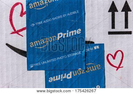 Indianapolis - Circa March 2017: Amazon Prime Parcel Package. Amazon.com is a premier online retailer VI