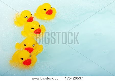rubber ducks in the bathtub