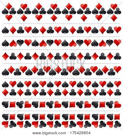 Gambling poker border with red and black symbols vector illustration. Ideal for printing onto fabric and paper or scrap booking