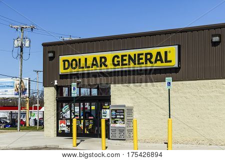Muncie - Circa March 2017: Dollar General Retail Location. Dollar General is a Small-Box Discount Retailer VII