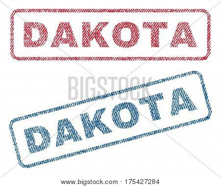 Dakota text textile seal stamp watermarks. Blue, red fabric vectorized texture. Vector tag inside rounded rectangular shape. Rubber sign with fiber textile structure.