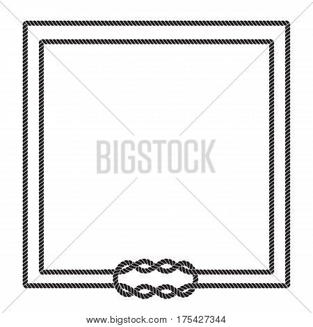 Blank poster template with nautical border. Wedding invitation, baby shower, birthday card, scrapbooking. Sailor rope knot picture frame. Graphic design element. Isolated vector illustration