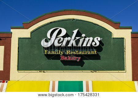 Muncie - Circa March 2017: Perkins Family Restaurant and Bakery Location. Perkins and Marie Callender's are sister restaurants I