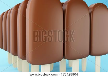 3D Set Of Chocolate Popsicles Filled With Cream