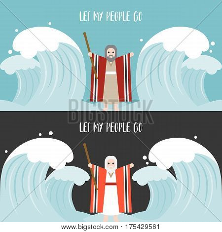 moses separate the sea in exodus, flat design vector