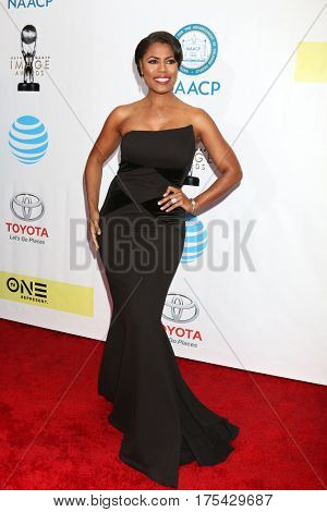 LOS ANGELES - FEB 11:  Omarosa Manigault Stallworth at the 48th NAACP Image Awards Arrivals at Pasadena Conference Center on February 11, 2017 in Pasadena, CA