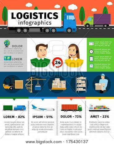 Logistics infographics vector illustration. Cargo transportation concepts with shipping and containers, train and air freight. Transportation infographic service