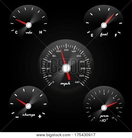 Car dashboard gauge on black background. Speed concept power meter vector illustration. Car panel with speedometer and tachometer