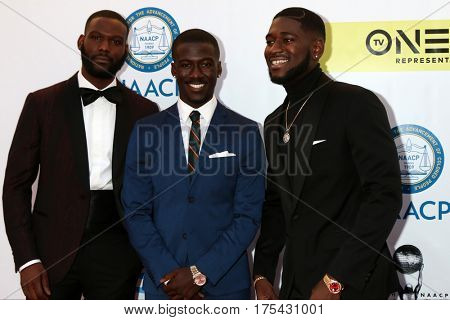LOS ANGELES - FEB 11:  Kofi Siriboe, Kwesi Boakye, Kwame Boateng at the 48th NAACP Image Awards Arrivals at Pasadena Civic Auditorium on February 11, 2017 in Pasadena, CA