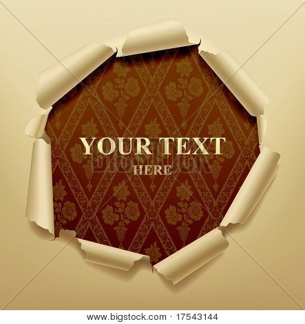 Vector image of torn hole in paper with a baroque background poster