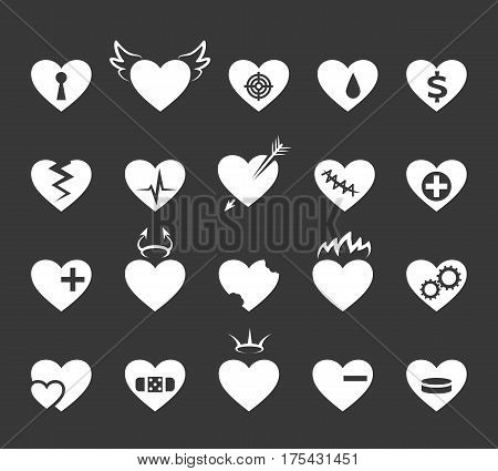 Hearts icons. Healthy and love heart, pulse and hearted signs. Set of abstract hearts. Vector illustration