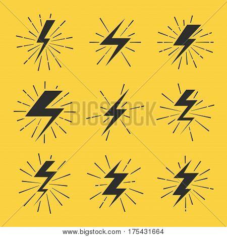 Lightning bolts vector icons set. Energy flash light lightning illustration
