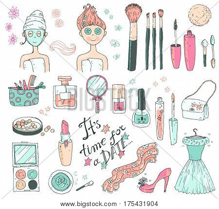 Hand darwn vector set time for a date . Cosmetic tools and products, perfume, lipstick, powder, blush, eye shadow, lip gloss, nail polish shoes, dress, girl with the face care mask. Pastel colors.
