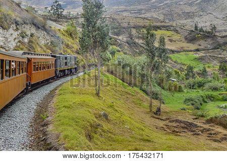 Train trip which goes to the famous Nariz del Diablo rocky mountain located in Aluasi town Ecuador