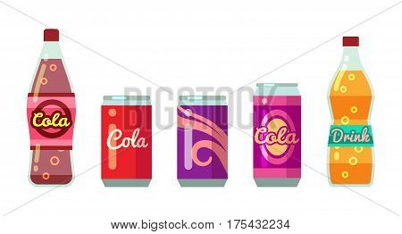 Soft drinks in bottles and cans vector illustration set. Juice and water soda