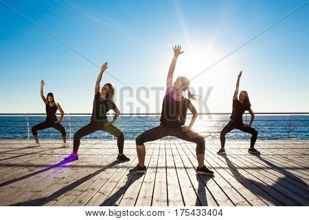 Silhouettes of sportive girls dancing near sea at sunrise