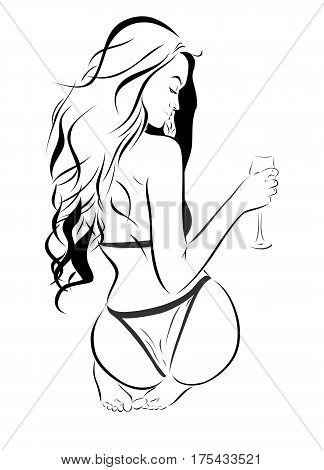 Beautiful slender young woman with a glass in her hand drawing sketch beautiful figure charming female body outlines and forms femininity sexuality charm and attraction image that can be used as a logo or advertisement cafe bar restaurant or other