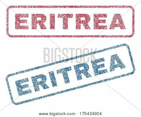 Eritrea text textile seal stamp watermarks. Blue, red fabric vectorized texture. Vector caption inside rounded rectangular banner. Rubber sign with fiber textile structure.
