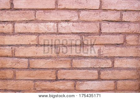 background of old brick wall close-up shows every brick
