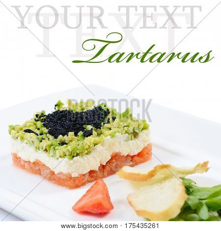 Salmon tartar with caviar on white background. Gourmet food