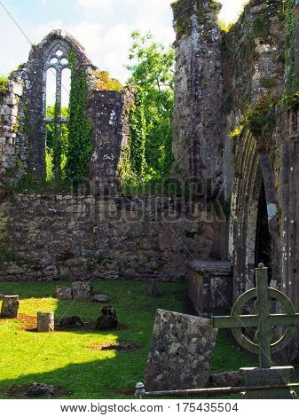 Cemetery At Ruins Of Bridgetown Priory Near Castletownroche At Cork County Ireland