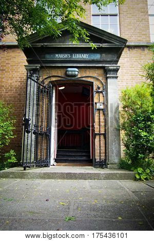 Entrance to the historic Marsh's Library in downtown Dublin Ireland.