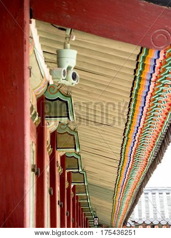 Detail Of Painted Eaves At Palace In Seoul