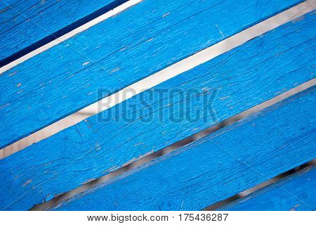 the background of old boards painted with a blue paint that peeled off