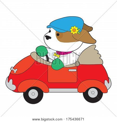 A cute puppy wearing a driving cap that has a flower on it is driving a red convertible