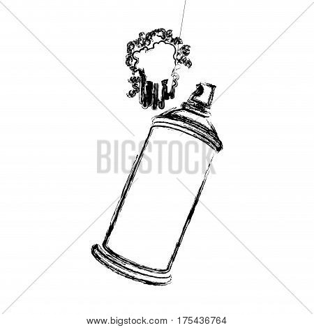 blurred side view silhouette aerosol spray with paint splash vector illustration