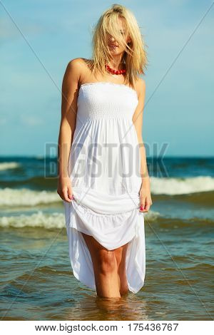 Young Woman Chilling Out On The Beach.
