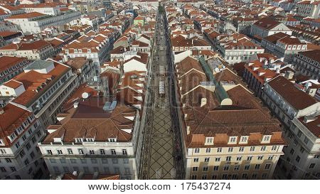 Aerial View of Baixa Chiado in Lisbon, Portugal