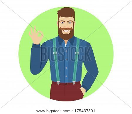 OK! Hipster show a okay hand sign. Portrait of hipster in a flat style. Vector illustration.