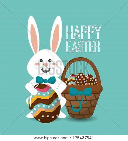 happy easter rabbit day icon image, vector illustration