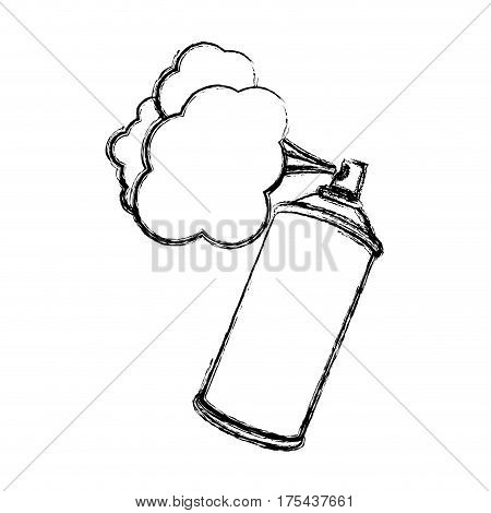 blurred silhouette aerosol spray with smoke paint vector illustration