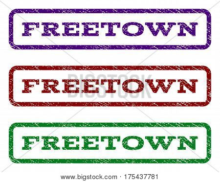 Freetown watermark stamp. Text tag inside rounded rectangle frame with grunge design style. Vector variants are indigo blue, red, green ink colors. Rubber seal stamp with unclean texture.