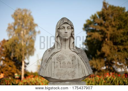 Sculpture of Holy Women. orthodox. stone. statue.